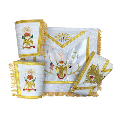 Masonic Rose Croix 33rd Degree Apron, Gauntlets and Collar Set - kitchcutlery  - 1