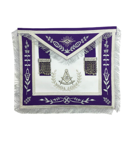 Masonic Blue Lodge Past Master Silver Machine Embroidery Purple Apron - kitchcutlery  - 1