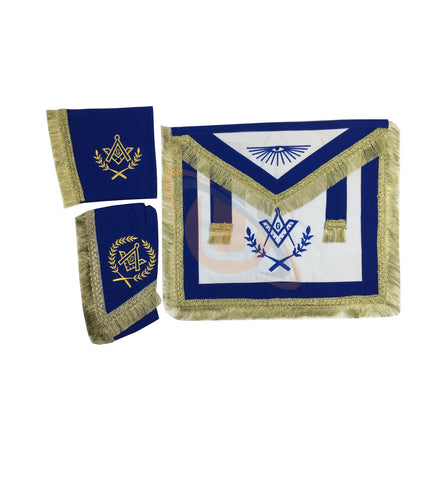 Copy of Masonic Master Mason Cardura Apron,Collar gauntlets Set with Fringe Red/Blue - kitchcutlery  - 1