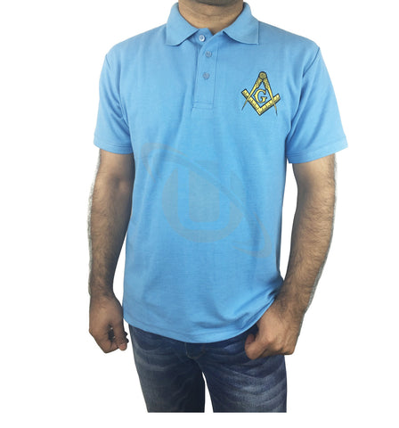 Masonic Polo Shirt with Embroidered Square Compass & G for Masons - kitchcutlery  - 1