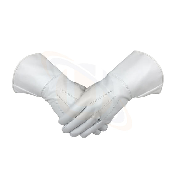 Masonic White Piper Drummer Leather Gauntlets/Gloves Plain - kitchcutlery  - 1