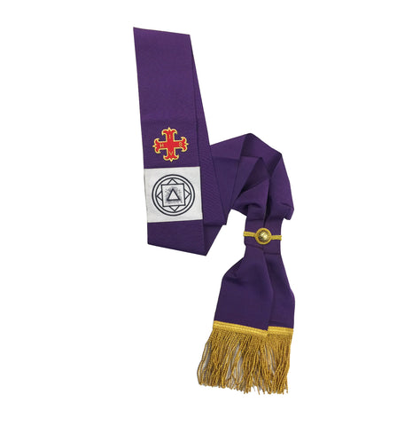 Red Cross of Constantine Companions Purple Sash Machine Embroidery