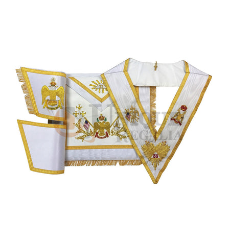 Rose Croix 33rd Degree Hand embroidery Apron Set Wings Up or Down USA Flag
