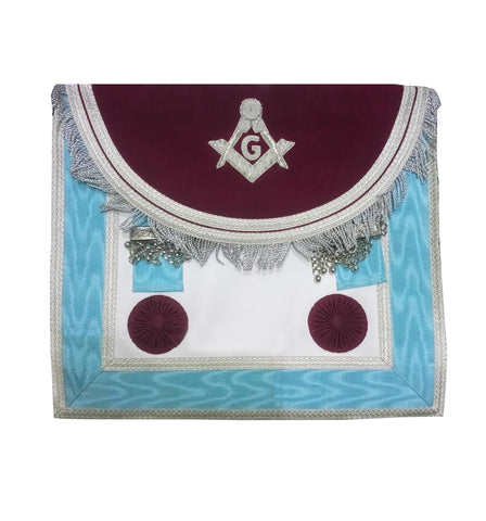 Scottish Master Mason Handmade Silver Embroidery Apron with Rosettes