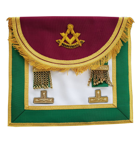 Scottish Past Master Hand Embroidery Apron with Levels