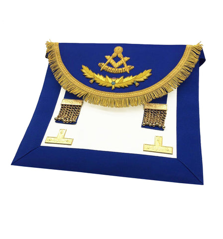 Scottish Past Master Handmade Embroidery Apron Blue