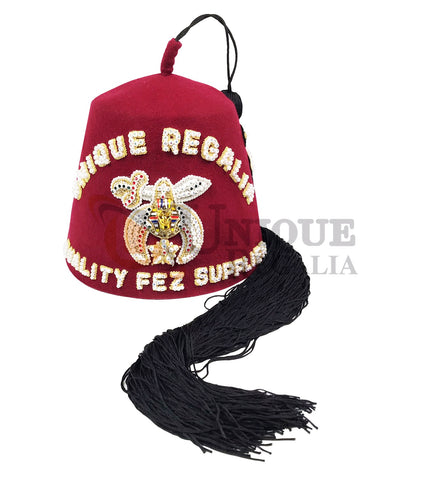 Customisable Handmade Rhinestone Bullion Embroidery SHRINER Fez Hat