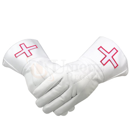 Masonic White Soft Leather St Thomas of Acon Gauntlets Gloves