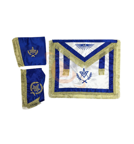 Masonic Master Mason Satin Apron,Collar gauntlets Set with Fringe Red/Blue - kitchcutlery  - 2