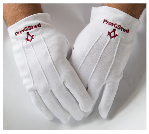 Provincial Grand Steward 100% Cotton Gloves with Square Compass Machine Embroidery