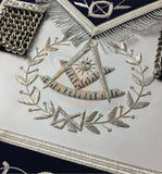 Masonic Blue Lodge Past Master Silver Handmade embroidery Apron Navy - kitchcutlery  - 2