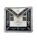 Masonic Blue Lodge Past Master Silver Handmade embroidery Apron Navy - kitchcutlery  - 1