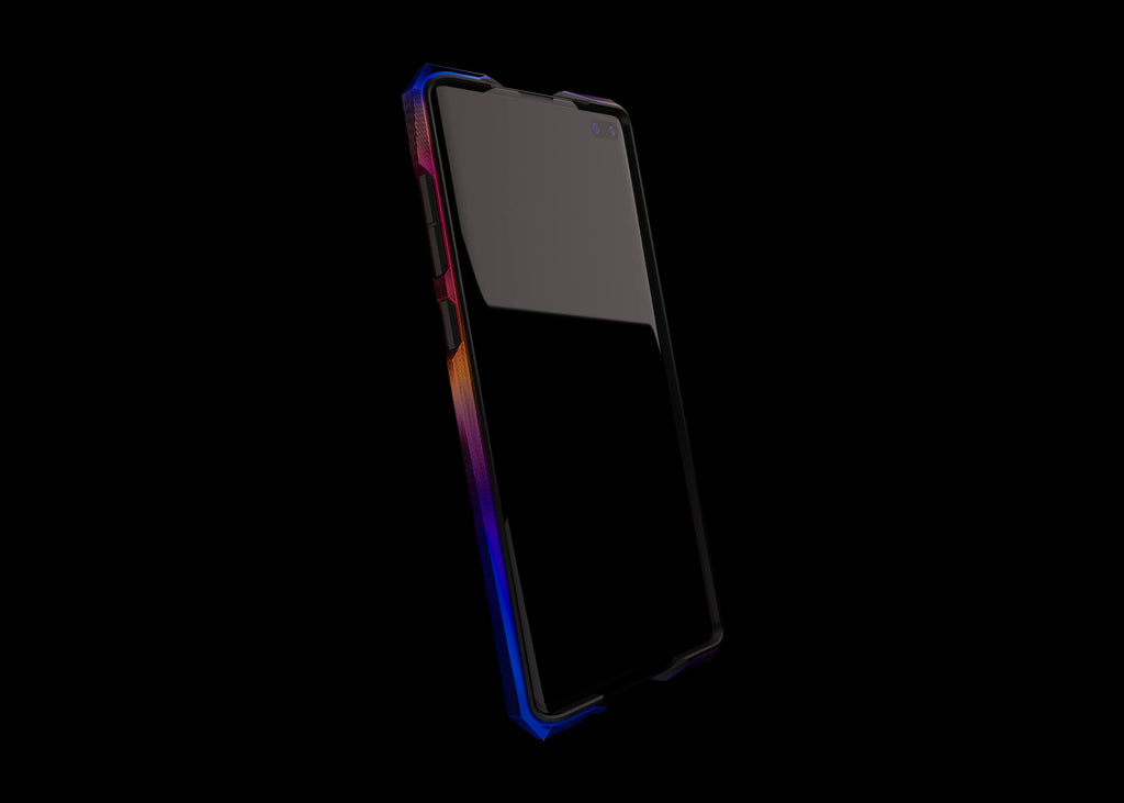 advent aurora titanium metal bumper case for the samsung s10+