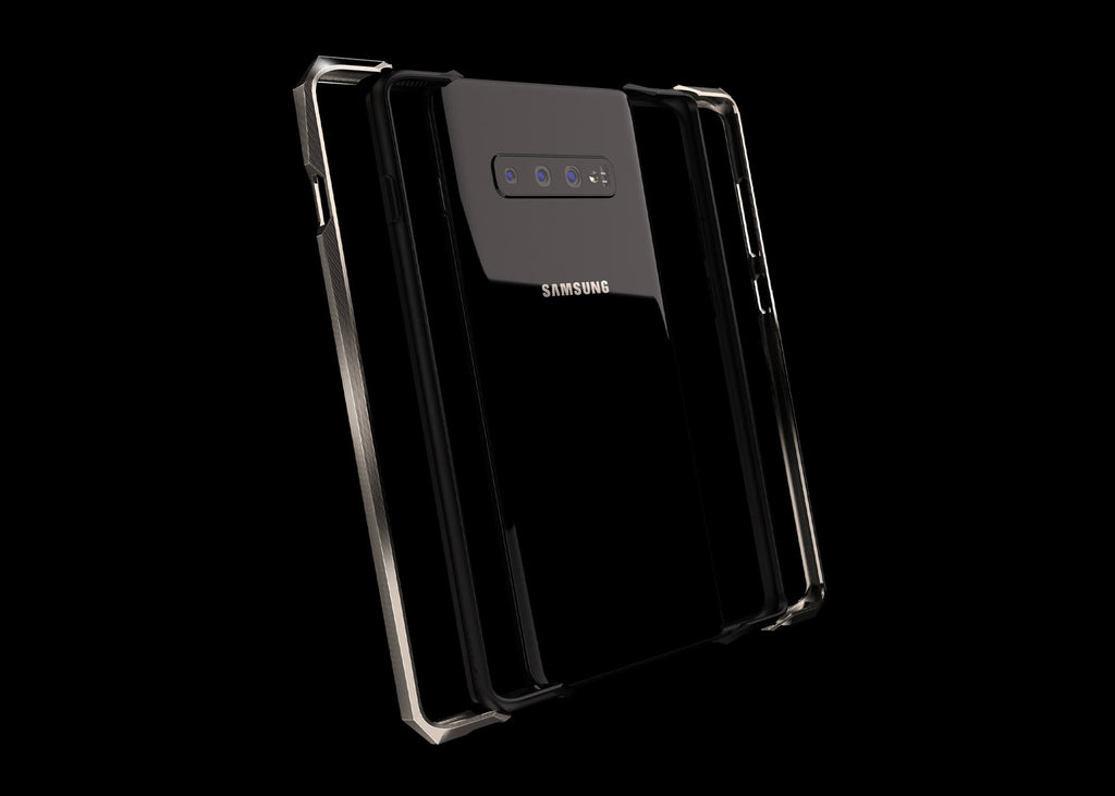 advent titanium metal bumper case for the samsung s10+