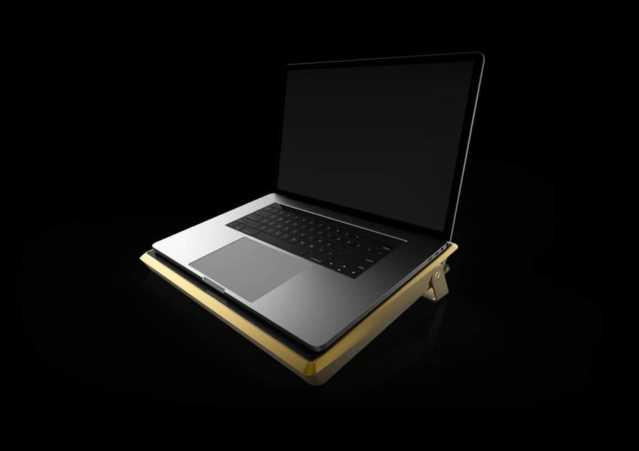 Zyra Gold luxury Metal aluminium & Carbon Fibre 13 Inch Macbook Case,Sleeve,Stand by GRAY® Singapore