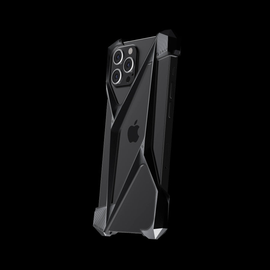 alter ego stealth black titanium metal designer iPhone 12 pro case