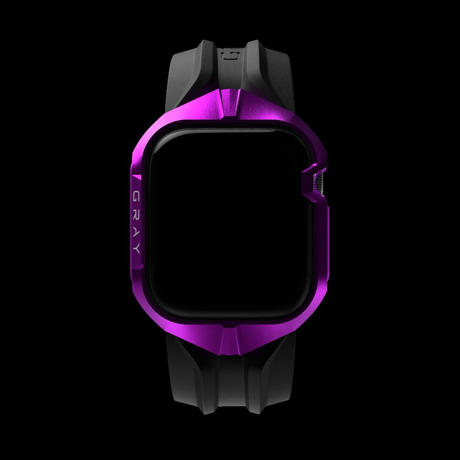 cyber watch galactic purple, luxury designer aluminium metal apple watch case