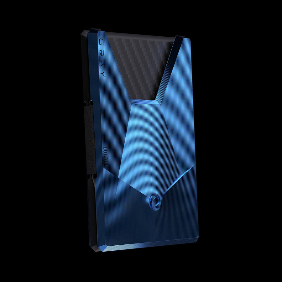 vandium sonic blue luxury titanium metal card wallet