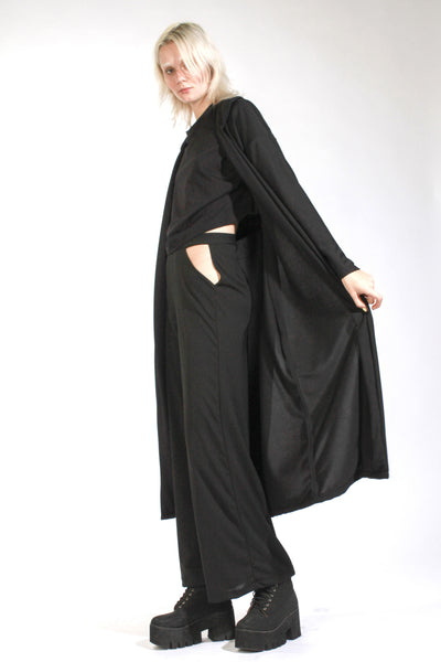 BLACK OVERSIZED DROP SHOULDER COAT