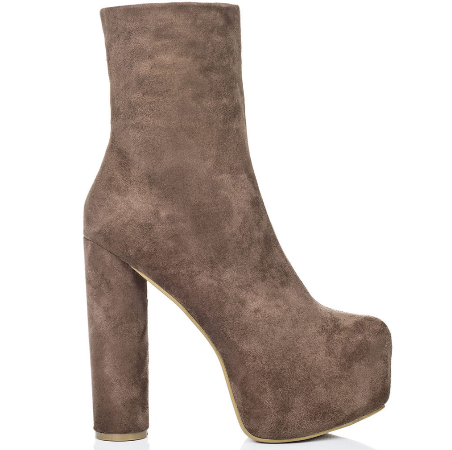 NUDE SUEDE ANKLE PLATFORM BOOTS