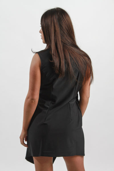 BLACK DEEP V WRAP DRESS