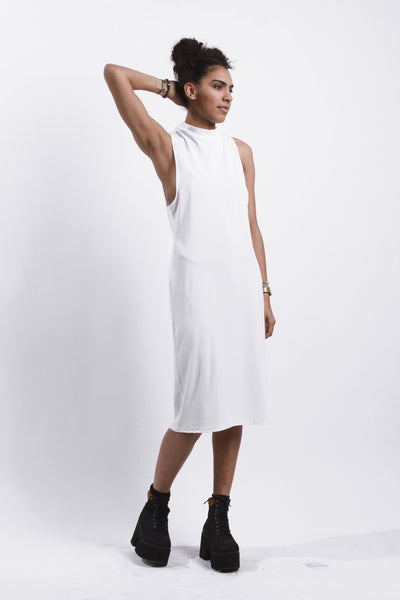 WHITE DROP ARM MIDI DRESS