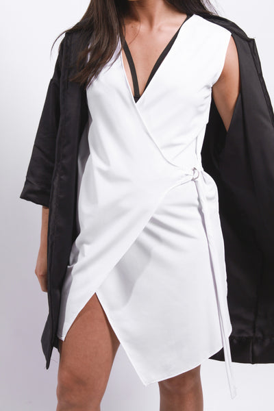 WHITE DEEP V WRAP DRESS