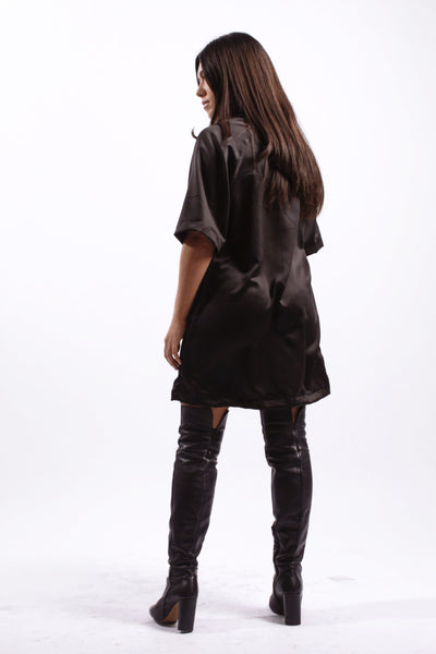 BLACK RIBBED RAGLAN DRESS