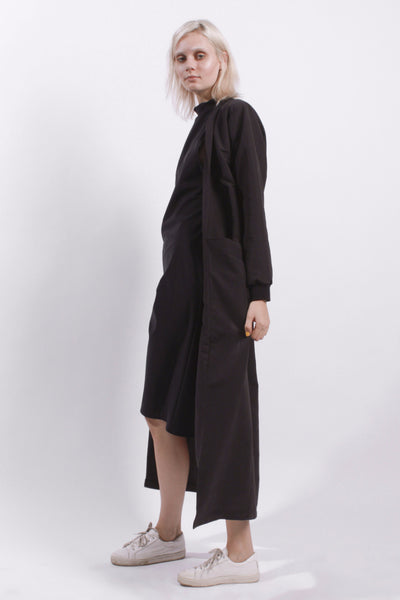 BLACK MAXI DUSTER COAT
