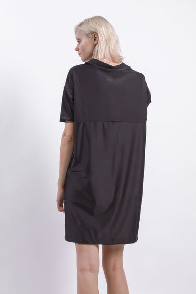 BLACK DROP ARM SHIRT DRESS