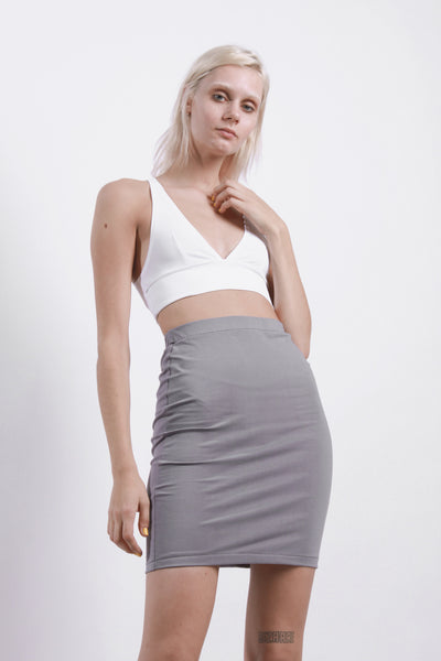 GREY JERSEY TUBE SKIRT