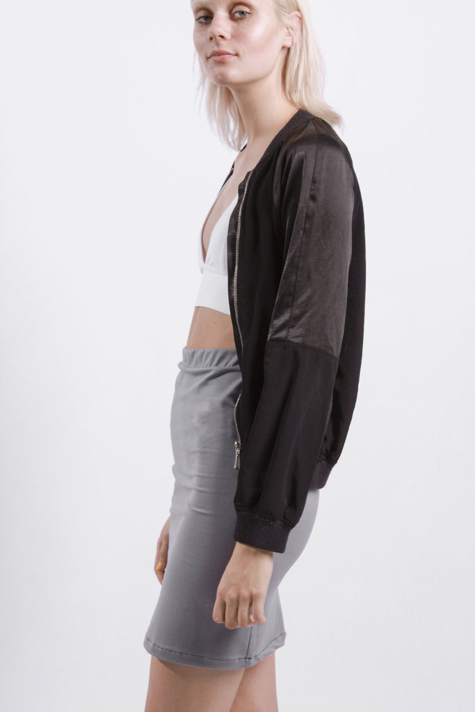 BLACK SPLIT BACK BOMBER JACKET