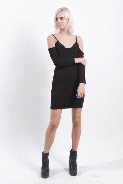 BLACK COLD SHOULDER STRAP DRESS