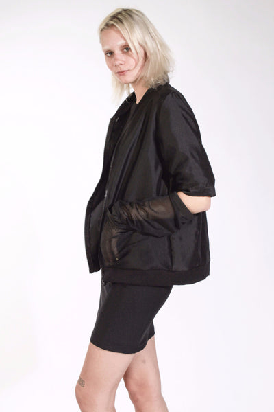 BLACK AIRTEX SPLIT ARM BOMBER JACKET