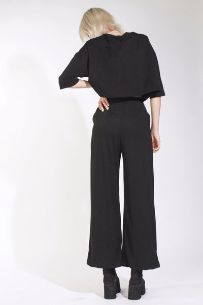 BLACK CUT OUT PALAZZO TROUSERS