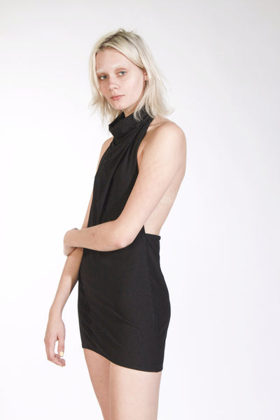 BLACK COWL NECK BACKLESS MINI DRESS