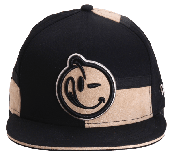 YUMS 'Couture' Strapback in Black/Tan Suede