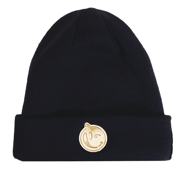 YUMS 'Metal Face' Beanie in Black/Gold