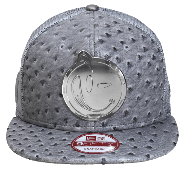 YUMS 'Plated Face' Snapback in Grey Ostrich/Chrome