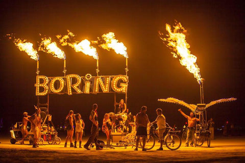 Boring Sign Burning Man