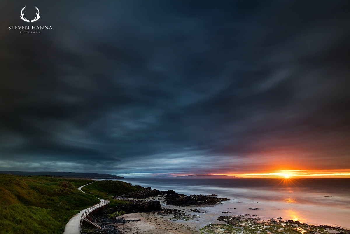 sunset landscape photo of portstewart strand