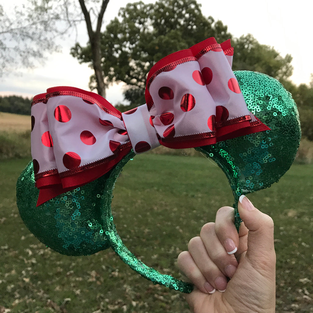 Red and green holiday ears