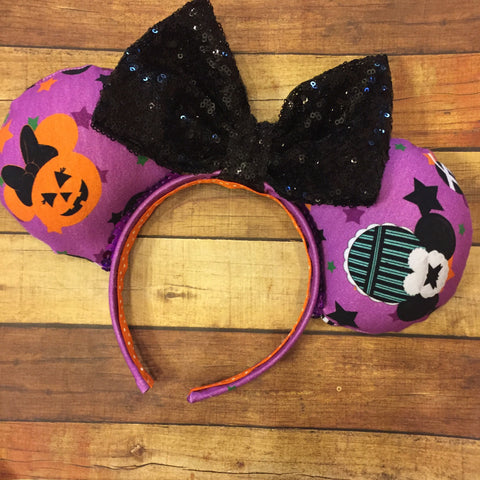 Purple Halloween ears with sparkle bow
