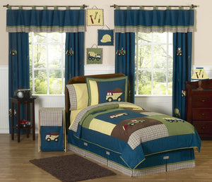 Construction Zone Kids Bedding Full/Queen Comforter Sets for Boys Teal Blue Green Brown