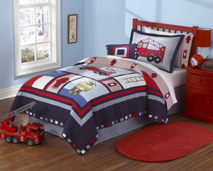 Fireman's Fire Truck Boys Bedding Twin Quilt Set Embroidered Cotton Bedspread Blue & Red