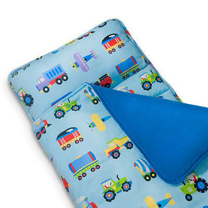 Trains, Airplanes, Fire Trucks Kids Blue Nap Mat - Child/Toddler Boy Sleeping Bag