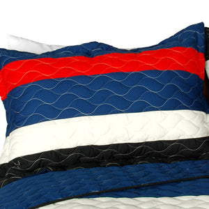 Americana Red White Blue Striped Teen Boy Bedding Full/Queen Quilt Set Bedspread