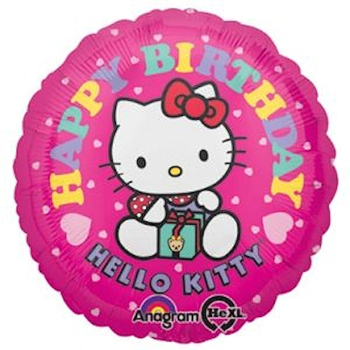 "Hello Kitty with Present Happy Birthday 18"" Hot Pink Party Balloon"