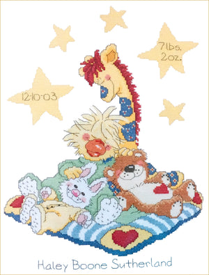 Little Suzy's Zoo Counted Cross Stitch Kit Keepsake Baby Birth Announcement Witzy Duck, Boof Bear, Patches Giraffe, Lulla Bunny