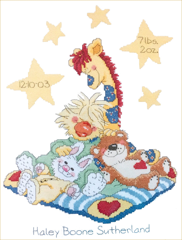 Little Suzy's Zoo Counted Cross Stitch Kit Keepsake Baby Animals Birth Announcement Sampler Witzy Duck, Boof Bear, Patches Giraffe, Lulla Bunny